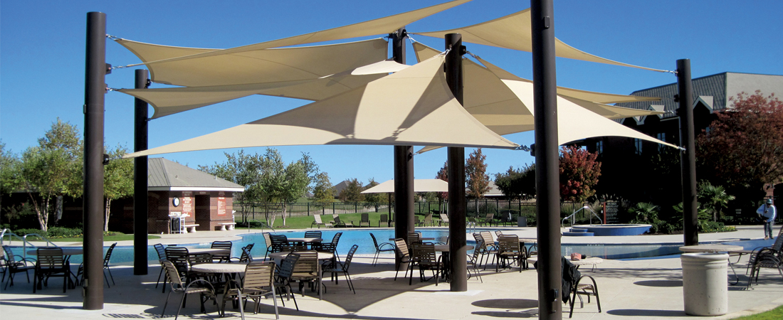 Shade structures for playgrounds and sports centres